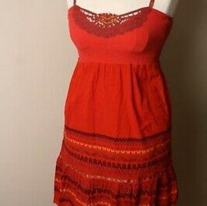 Free People Red Boho Festival Ribbon Strap Dress